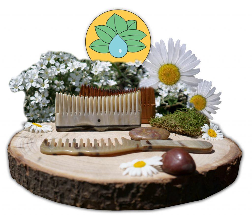 Hornkämme, Bürsten und Haarpflege auf natürlicher Basis.