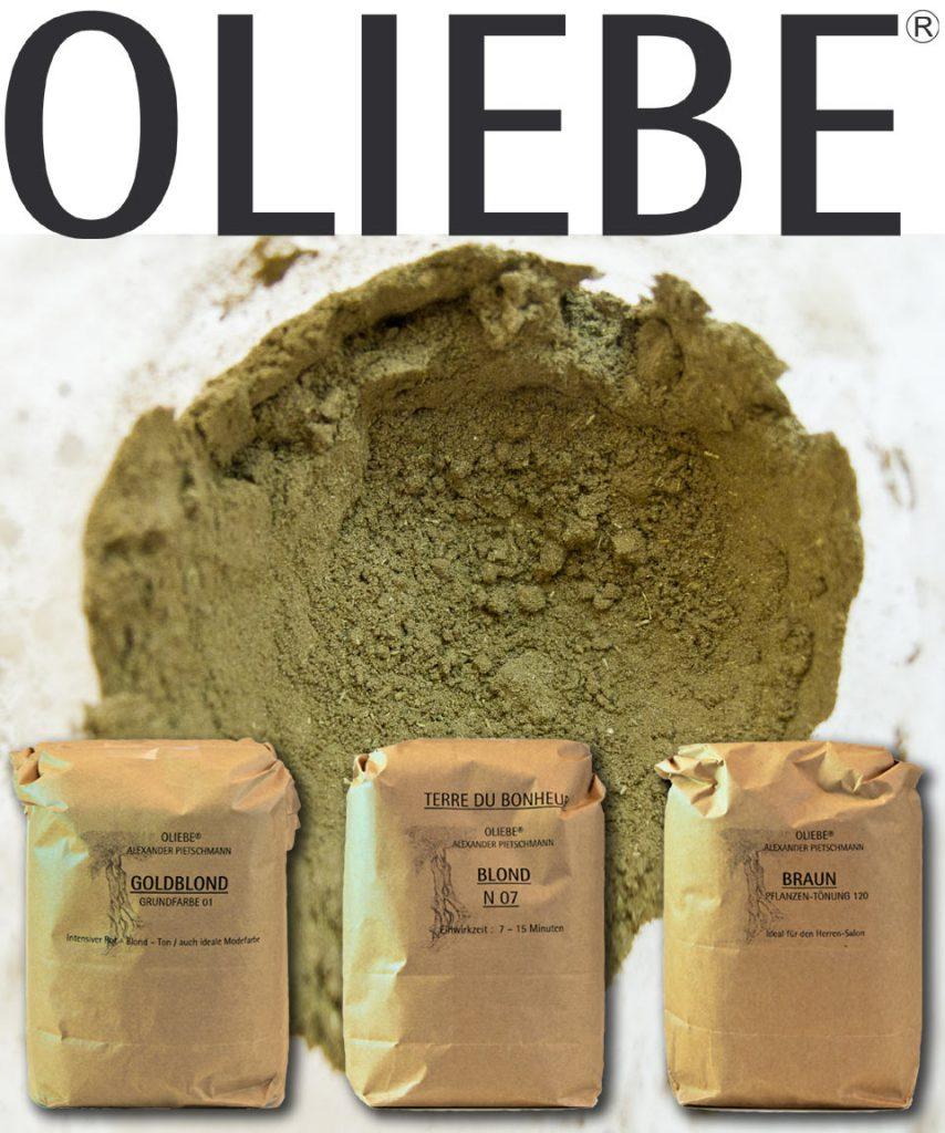 OLIEBE Pflanzenhaarfarben. Goldblond, Blond N07, Braun. ökologisch gut.