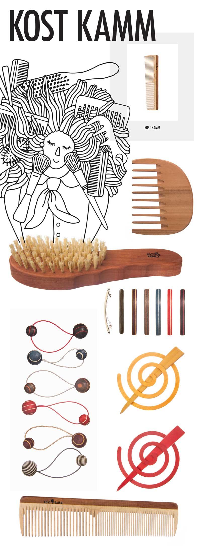 Der Erfahrungsschatz der alten Zunft der Kammmacher des Unternehmens der Familie Kost liegt in der familiären Vorgeschichte begründet. Die Liebe zum Detail in Farb- und Formgebung findet man in Ihren Kämmen, Bürsten, Rasier- und Schmuckartikeln wieder. Der respektvolle Umgang mit der Natur bilden die Grundlage Ihrer Firmenphilosophie. Deshalb freuen wir uns Ihnen ab sofort eine Auswahl von Kostkamm-Produkten in unserem Salon Melissa Frings Naturfriseurin & Friseurmeisterin. Habsburgerallee 11, 52064 Aachen anbieten zu dürfen. Bei uns erhalten Sie KOSTKAMM Kämme, Bürsten, Rasier- und Schmuckartikel. www.naturfriseur-aachen.de